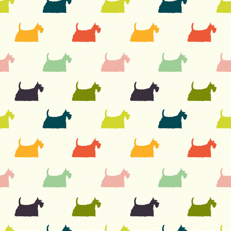 Seamless pattern with colorful dog silhouettes on polka dot background. Scottish terrier. Vector background. Фото со стока - 47542208