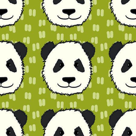 tiling: Seamless pattern with cute hand drawn panda heads. Animal tiling background.