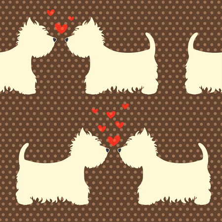 terriers: Seamless pattern with cartoon dogs silhouettes on polka dot background. Cute and lovely West highland terrier couples with hearts. Valentine background design.