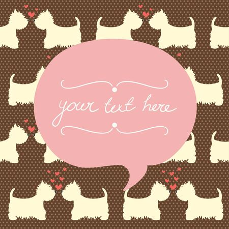 terrier: Seamless pattern with cartoon dogs silhouettes on polka dot background. Cute and lovely West highland terrier couples with hearts. Valentine card design.