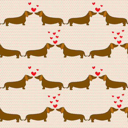 Seamless pattern with cartoon dogs silhouettes on polka dot background. Cute and lovely dachshund couples with hearts. Valentine background design.