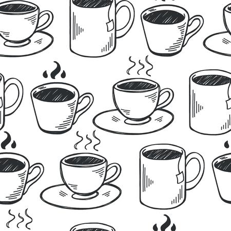 filiżanka kawy: Jednolite wzór z ręcznie rysowane szkicowy kubków herbaty i kawy. Przerwa na kawę płytki tła. Ilustracja