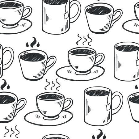 tea hot drink: Seamless pattern with hand drawn sketchy tea and coffee cups. Coffee break  tiling background.
