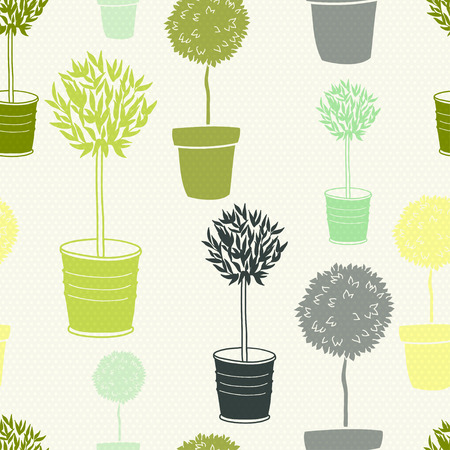 tree silhouettes: Garden seamless pattern with doodle potted trees on polka dot background. Illustration