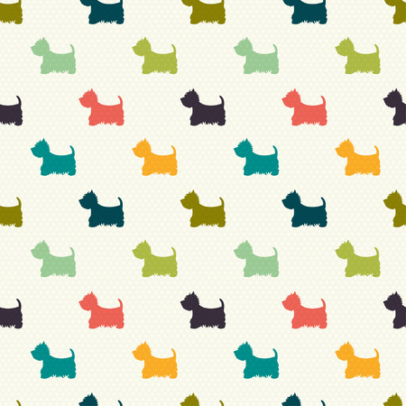 highland: Seamless pattern with dog silhouettes on polka dot background. West highland terrier. Vector background.