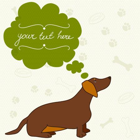 sausage dog: Cute card with cartoon dog and speech bubble. Sitting dachshund, sausage dog. Hand drawn vector illustration.