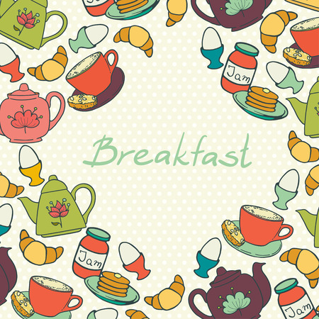 boiled: Breakfast border with coffee cup, croissant, boiled egg, tea pots, jam and pancakes. Frame with hand drawn morning food elements on polka dot background.