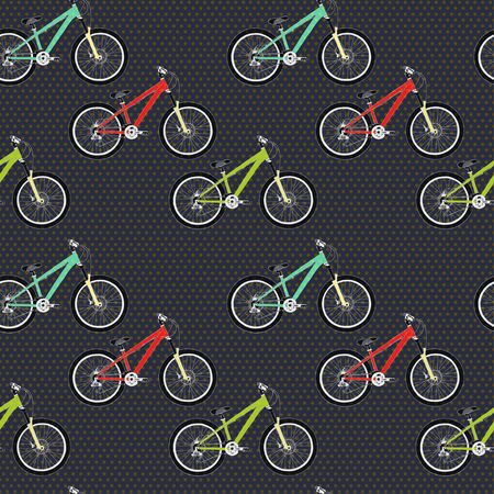 mtb: Seamless pattern with colorful mountain bicycles on polka dot background. Vector illustration. Illustration