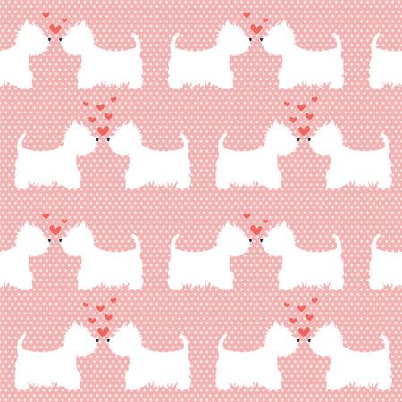 漫画でのシームレスなパターン犬水玉の背景にシルエット。心とキュートで素敵なウェストハイランド テリアのカップルします。バレンタイン背景