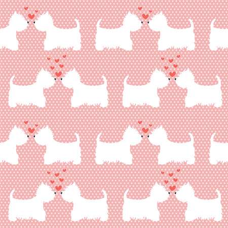 highland: Seamless pattern with cartoon dogs silhouettes on polka dot background. Cute and lovely West highland terrier couples with hearts. Valentine background design.