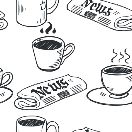 black coffee: Seamless pattern with sketchy hand drawn coffee cups and newspapers on white background. Coffee break illustration. Illustration