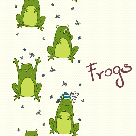 bullfrog: Seamless pattern with funny cartoon frogs. Hand drawn vector texture on polka dot background. Illustration