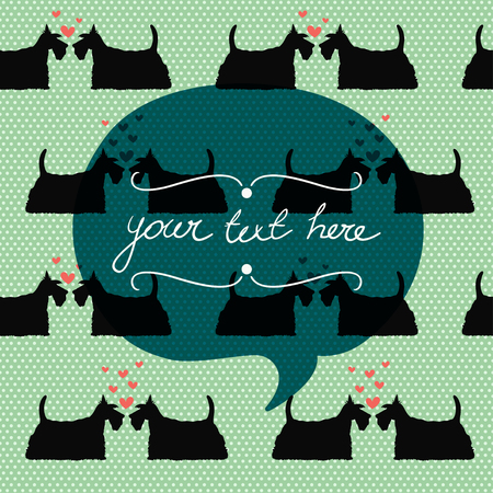 scottish terrier: Seamless pattern with cartoon dogs silhouettes on polka dot background. Cute and lovely scottish terrier couples with hearts. Valentine card design.