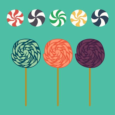 paleta de caramelo: Piruletas de dibujos animados lindos y dulces de caramelo en estilo plano aislados sobre fondo azul.