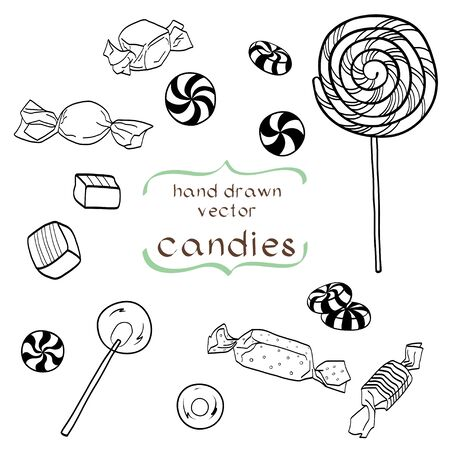bonbon: Cute set of hand drawn doodle sweets isolated on white background. Cartoon candy collection.