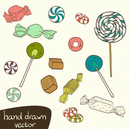 toffee: Cute set of colorful hand drawn doodle sweets on polka dot background. Cartoon candy collection.