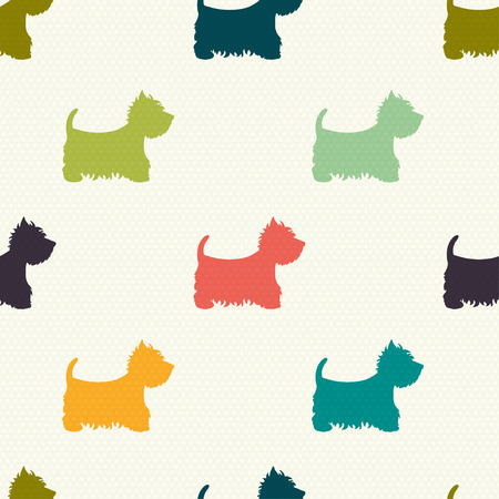 paws: Seamless pattern with dog silhouettes on polka dot background. West highland terrier. Vector background.