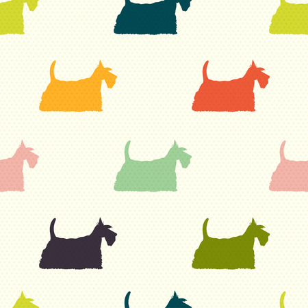 scottie: Seamless pattern with colorful dog silhouettes on polka dot background. Scottish terrier. Vector background.