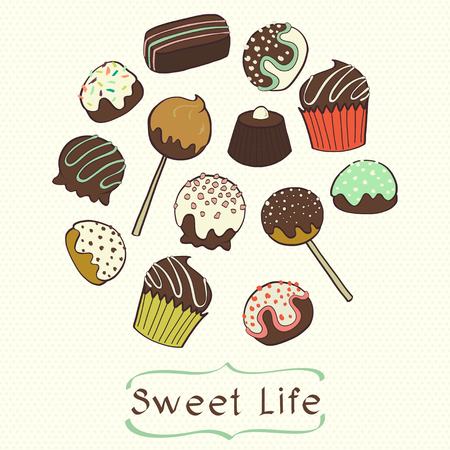 Cute set of hand drawn doodle chocolate sweets on polka dot background. Cartoon chocolate candy collection.
