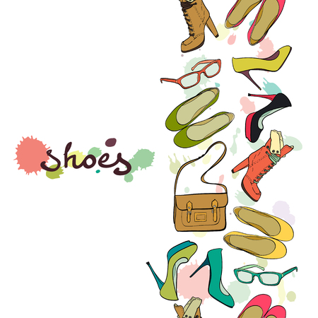 flat shoes: Seamless pattern made of hand drawn high heel shoes, boots, flat shoes, glasses and bag.