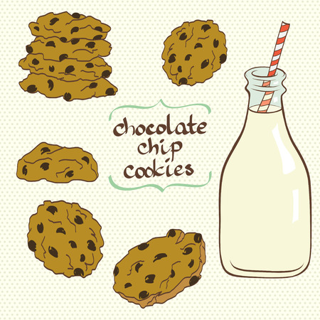milk and cookies: Set of hand drawn doodle cartoon chocolate chip cookies and bottle of milk on polka dot background.