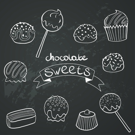 eating chocolate: Cute set of hand drawn doodle chocolate sweets on chalkboard background. Cartoon candy collection.