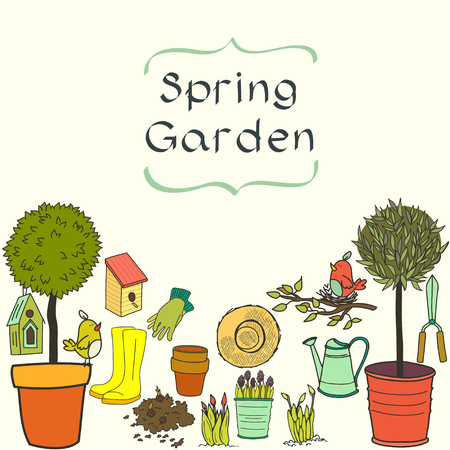 watering pot: Set of hand drawn garden tools, pot, ground, watering can, olive tree in a pot, straw hat, gloves, rubber boots and bird house. Vector illustration.