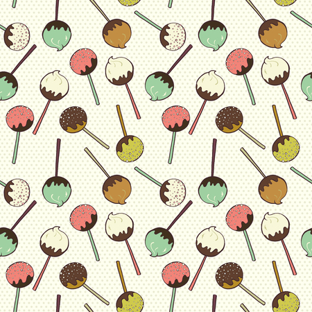 cute chocolate: Cute seamless pattern made of hand drawn doodle chocolate and caramel candies on polka dot background. Cartoon sweets background.