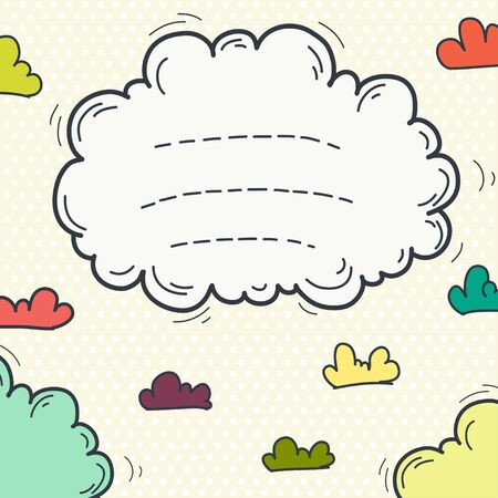 Hand drawn doodle frame with cute cartoon clouds on polka dot background. Childish invitation or greeting card template.