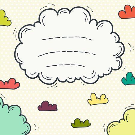 nubes caricatura: Marco de la mano del doodle con las nubes lindos de la historieta en el fondo del lunar. invitación infantil o una plantilla de tarjeta de felicitación.