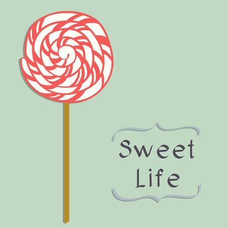 paleta de caramelo: Lollipop lindo del dibujo animado en el estilo plano aislado en fondo azul.