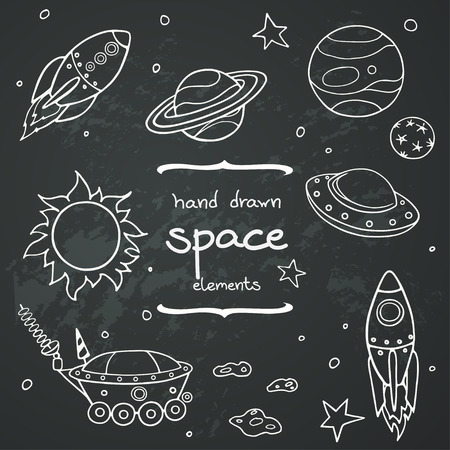 Set of cartoon space elements: rockets, planets and stars. Hand drawn doodle objects on chalkboard background. Childish illustration.