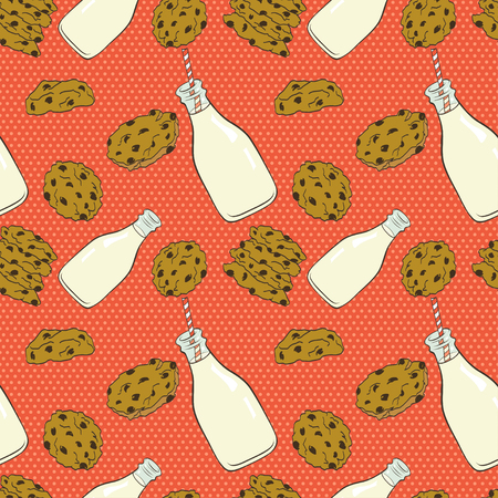Hand drawn seamless pattern with doodle cartoon chocolate chip cookies and bottle of milk on polka dot background. Banco de Imagens - 47544802