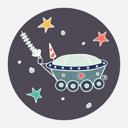 lunar rover: Hand drawn cartoon moon car and stars. Childish doodle space icon.