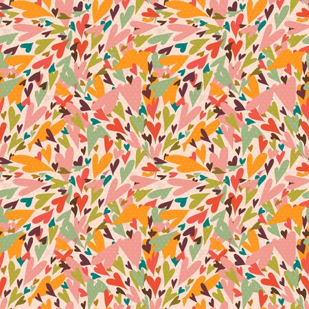 Valentine seamless pattern with bright colorful hearts. 14 February. Valentine's Day background. Vettoriali