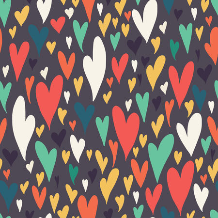14 of february: Valentine seamless pattern with bright colorful hearts. 14 February. Valentines Day background. Flat style design.