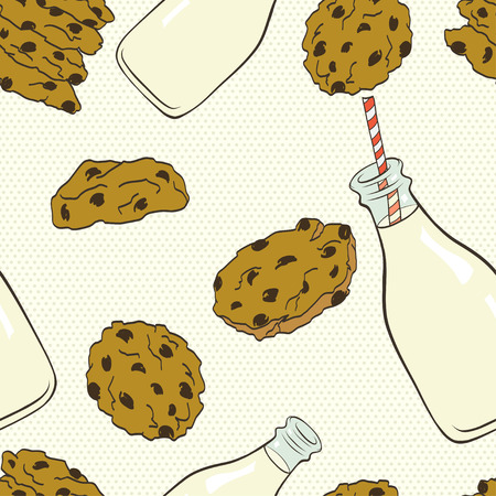 milk and cookies: Hand drawn seamless pattern with doodle cartoon chocolate chip cookies and bottle of milk on polka dot background.