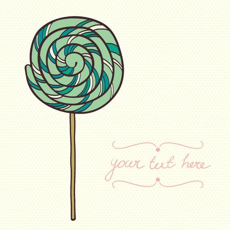paleta de caramelo: Lollipop lindo de dibujos animados de menta aislado en fondo del lunar.