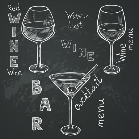 copa de vino: Conjunto de gafas de boceto para el vino tinto, vino blanco, martini y cóctel en el fondo pizarra. Mano escrito cartas en el estilo vintage dibujados con tiza en la pizarra. Vectores
