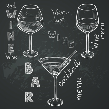 Set of sketched glasses for red wine, white wine, martini and cocktail on chalkboard background. Hand written letters in vintage style drawn with chalk on blackboard. Ilustração