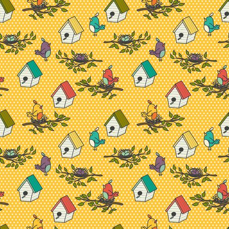birdie: Seamless pattern with cartoon bird houses and doodle birds on the branches on polka dot background. Hand drawn birdie background.