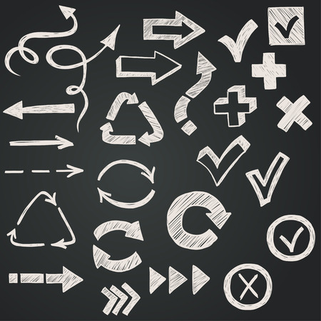circular arrows: Checkmarks, checkboxes and arrows drawn with chalk in a doodled style on chalkboard background.