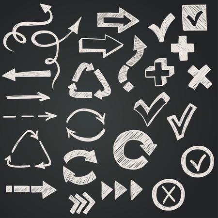 arrows: Marcas de verificaci�n, casillas de verificaci�n y flechas dibujadas con tiza en un estilo garabatos sobre fondo de pizarra. Vectores