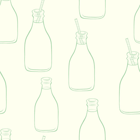 milk shake: Seamless pattern with hand drawn cartoon doodle bottles with striped straws and fresh drinks on light background. Lemonade, milk shake, smoothie.
