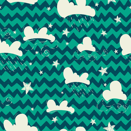 chevron background: Seamless pattern with hand drawn doodle clouds and stars on chevron background.