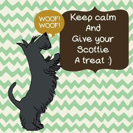 begging: Cute card template with sketch of a sweet standing Scottish terrier and figure frames for the text on doodle chevron background. Hand drawn cartoon dog begging for a treat.