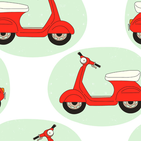 Seamless pattern with hand drawn cartoon scooters. Tiling background with doodle motorbikes.