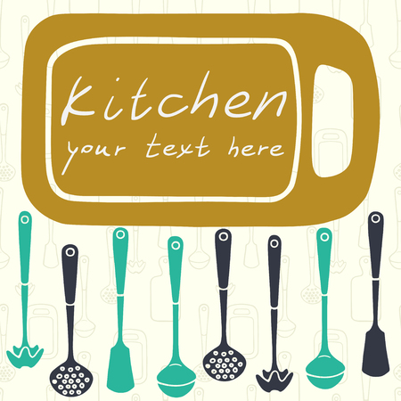 skimmer: Kitchen utensils. Frame in shape of cutting board, ladle, spatula, skimmer.