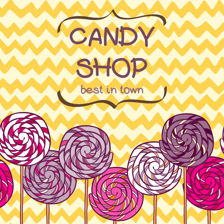 chevron background: Cute seamless pattern made of hand drawn doodle caramel candies on chevron background. Cartoon sweets background.