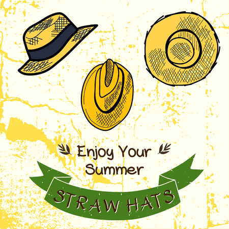 panama hat: Set of hand drawn sketchy straw hats. Fashionable cartoon summer hats on grunge background with ribbon banner for the text. Illustration